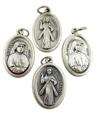 Saint Faustina with Divine Mercy 1 Inch Silver Tone Two Sided Medal, Lot of 4