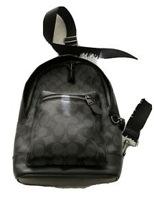Coach Men's Sling Backpack - Black. New and never used. Coach Signature Pattern