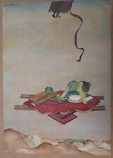 """Dessin Surréaliste Signé ELIE ABRAHAMI """"Les Trois Génération"""" 1975 Iran Juif"""