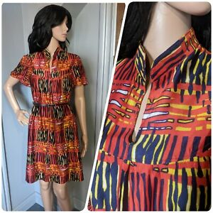 Vintage 60s 70s Abstract Mini Tunic Swing Dress Mod 8 10 36 38
