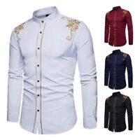 Men Long Sleeve Dress Shirts Slim Fit Embroidered Button Down Formal Tops Casual