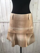 Brunello Cucinelli Womens Skirt- Beige Wool Blend Draped A-Line Lined- Size US 6