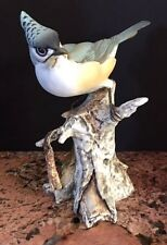 Vintage Giuseppe Italy TAY Signed Blue Jay Bird bisque tree trunk Figurine