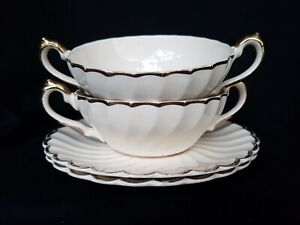 VINTAGE MYOTT STAFFORDSHIRE PAIR OF SOUP COUPES & SAUCERS - SCALLOP
