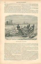 Moissonneuse Lieuse Machine Agricole dessin de Broux GRAVURE ANTIQUE PRINT 1880