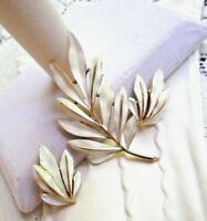 ALFRED PHILLIPE CROWN TRIFARI CLASSIC WHITE ENAMEL BROOCH EARRINGS VINTAGE
