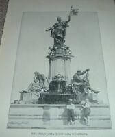 1903 Antique Print FRANCONIA FOUNTAIN WURZBURG South Tyrol Italy
