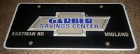 Vintage Chevrolet chevy Dealership License plate GARBER SAVINGS CENTER midland