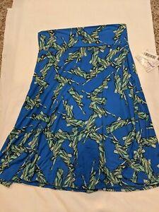 NWT LuLaRoe Azure Skirt Large blue background with statue of liberty pattern