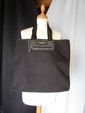 sac lancel toile tissée noire et cuir marron
