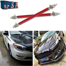Red Adjustable Front Bumper Lip Diffuser Splitter Strut Rod Tie Support Bars