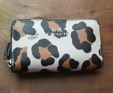 Coach zip around wallet leopard print