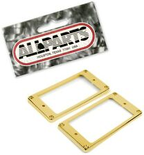 GOLD FLAT SLANTED HUMBUCKER PICKUP MOUNTING RING SET (2) HUMBUCKING GUITAR NEW