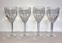"EXQUISITE HTF RETIRED SET OF 4 WATERFORD CRYSTAL LAUREL 8 1/2"" WATER GOBLETS"