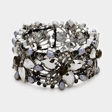 Elegant Formal Special Occasion Gray Floral Crystal Pearl Bangle Bracelet
