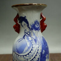 Chinese old porcelain Crackle glaze Blue and white double eared vase with vase