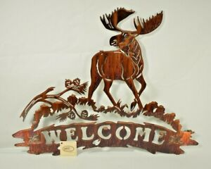 "Lazart - Moose Welcome Sign - 20"" Metal Decorative Laser Wall Art Lodge Rustic"