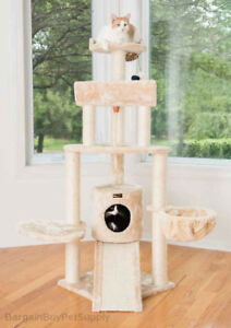 """59"""" Armarkat Multi Cat Tree Condo Bed House Perch Scratching Post Beige A5806"""