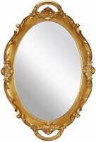 Oval Vintage Wall Mirror Tray Mirrored Tray Dresser 9.8 x 14 inch - (Golden )