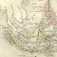 Indonesia Malaysia Borneo Sumatra Asia 1855 Dufour old map Micronesia Australia