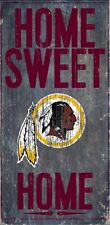 "Washington Redskins Home Sweet Home Wood Sign NEW 6"" x 12"" Wall Decoration Gift"