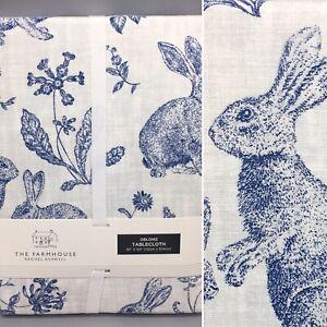 """Rachel Ashwell Easter Blue Bunny Rabbit Toile Tablecloth Cloth Farmhouse 60x120"""""""