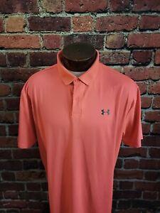 Under Armour Men's XL Hot Pink Coral Short Sleeve Golf Polo Shirt ⛳