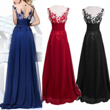 Womens Lace Floral Maxi Long Retro Dress Evening Party Wedding Prom Ball Gown AU