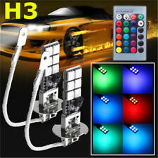 2x H3 5050 RGB 12SMD LED Auto Car Headlight Fog Bulb Lamp Light Remote Control A