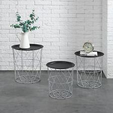[en.casa]® Set de 3 cestas de metal mesa auxiliar mesa de centro plata mesitas