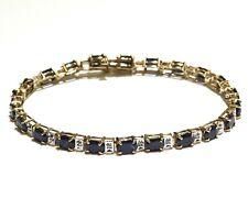"10k yellow gold .11ct diamond sapphire gemstone tennis bracelet 9.6g 7 1/4"""