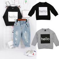Newn Kids Boy Girl Pullover Long Sleeve Crew Neck T Shirt Tops Baby Tracksuit