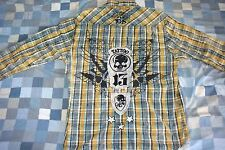 *NEW* Ed Hardy Men's Western Pearl Snap Embroidered Long Sleeve Plaid Shirt