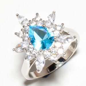 Blue Topaz & White Topaz Gemstone 925 Sterling Silver Jewelry Ring s.8 R630-5-12