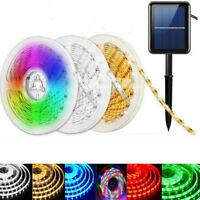Solar Powered Strip Light SMD 2835 Flexible LED Ribbon Tape Outdoor Garden Xmas