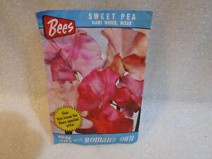 Vintage 1974 Bees Sweet Pea Giant Waved Seeds.. Unopened .. Rare