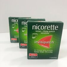 3 Nicorette invisipatch 25mg,15mg Nicotine patches step1 ,step 2.  ( 3 for £29.9