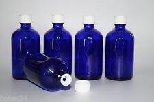 5 Stück Glasflasche Blauglasflasche 100 ml incl. Schraubverschluss mit Gießring