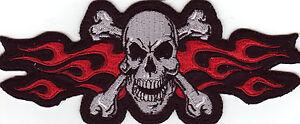 Totenkopf Skull Aufnäher Patch Modell Red Flame Skull Größe ca. 16,3 cm x 6,8 cm