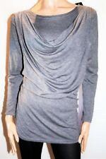 Unbranded Grey Drape Front Long Sleeve Stretch Tunic Top Size S/M BNWT #TG38