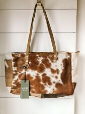 NEW MYRA BAG S-1453 FAWN AND WHITE COWHIDE & CANVAS SMALL HANDBAG