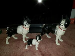 "3 Antique Hubley Style Boston Bull Terrier Cast Iron Doorstops 10"" and puppy 5"""