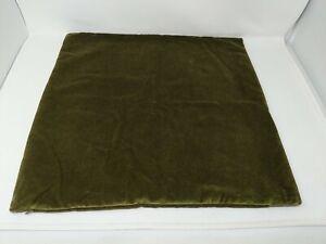 """Pottery Barn Velvet Pillow Cover Euro Square Sham 20"""" X 20"""" Avocado Dark Green"""