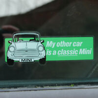 My other car is a classic Mini WINDOW Sticker Decal 122mm x 43mm green Rover