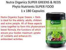 1 x 180 Capsules Nutra Organics SUPER GREENS & REDS Phyto Nutrients SUPER FOOD