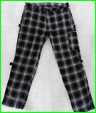 DOGPILE Size 38 Plaid Black & Tan Bondage Pants ZIP STREET PUNK Oi! SKATE