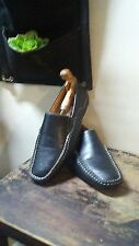 Coronado Black Pebbled Faux Leather Mens Driving Mocassins 7.5 Square Toe Dress