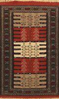 Tribal Sumak Kilim Geometric Hand-Woven Oriental Area Rug Traditional WOOL 4'x6'