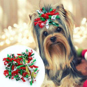 Wholesale Dog Hair Bows With Rubber Bands Christmas Pet Puppy Grooming Accessory