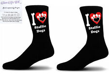 Black I love Staffie Dogs With a Paw Print Design Socks